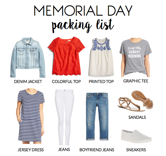 what to pack for memorial day