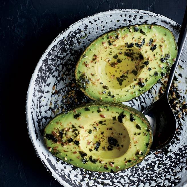 Avocado Halves with Flax Seed Furikake + A170907 + Food & Wine + Handbook + Zimmern + Cookie Swap + Dec 2017